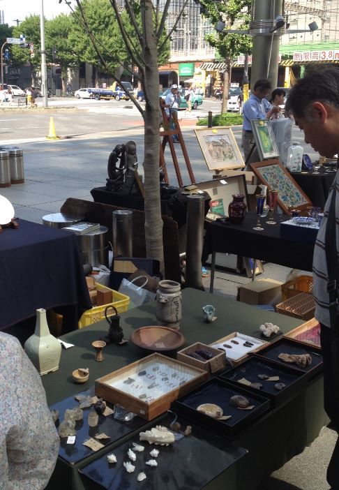 Fossils for sale at the Oedo Antique Market, Marunouchi, Tokyo