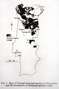 Map of Portugal showing location of Panasqueira and the distribution of Hercynian granitic rocks