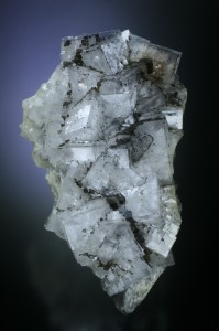 特徴的な灰色がかった結晶と外縁に水のように澄んだファントムが見えるEmilio鉱山の端正な標本です.ファントムは写真では分かりづらいですね. 結晶全体に見られる炭化水素油(ビチューメンbitumen)のインクルージョンにも注目です. Juan Fernandez Buelga所蔵, 撮影.
