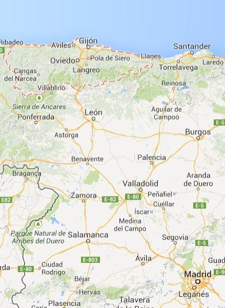 アストゥリアス地方(赤線で囲んだ部分), スペイン北部, Google Maps